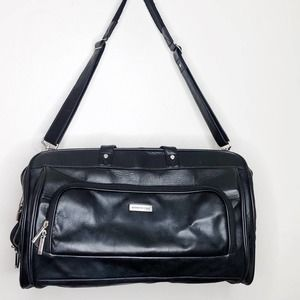 Kenneth Cole Black Leather Travel Duffle Bag